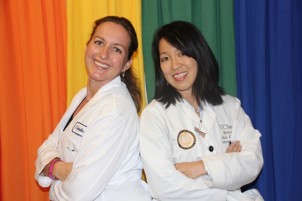 Sara Gianella, MD, (left) and Maile Young Karris, MD, discuss the many factors that play a role in the underrepresentation of women in HIV research.